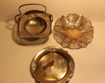 VINTAGE Three Silver Plated Trays