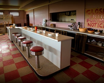 Ruby Cafe Interior from the Canadian TV Sitcom Corner Gas in Dog River Rouleau Saskatchewan Canada No.Pan1 Fine Art Landscape Photography
