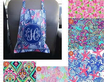 Lilly style Car Trash Bag, Preppy, Coral Reef, Flamingo, Lobster, Starfish car accessory, coordinates with our floor mats & steering covers