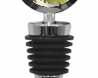 Grapes in a Vineyard - Wine Bottle Stopper - Silvertone Metal - Round Shaped