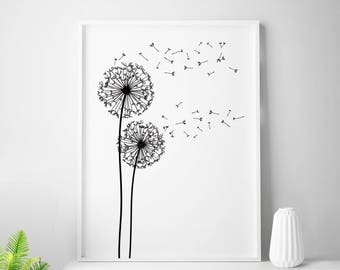 Black and white print dandelion print scandinavian minimalist decor abstract wall art nordic design dandelion wall art black dandelion