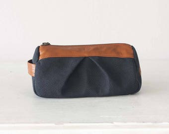 makeup bag in dark blue canvas and Brown leather, accessory bag pencil pouch cosmetics case toiletry storage case - Estia Bag