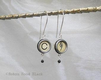 Typewriter Key Earrings Sterling Silver with Vintage C and 7 Ampersand Keys
