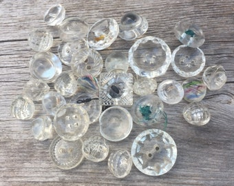 Vintage Clear Glass Button Collection
