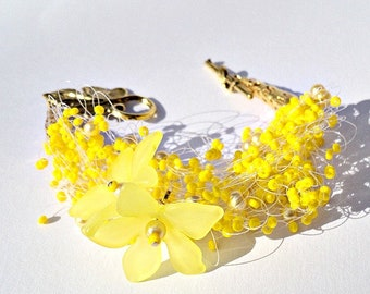 Yellow bracelet, Summer armband, Party jewelry, Wedding jewellery, Bridesmaid gift, Bridal shower, Tropical, Bohemian, Special occasion gift