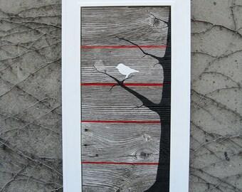 SOLD -  White Bird Barnwood Wall Art