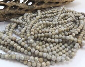 Grey Feldspar Beads, Natural 4mm Round, 16 inch Strand, 4mm Gray Beads, Beading Supplies, Item 1006pm