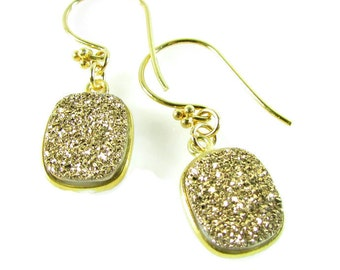 Gold Druzy Earrings, Druzy Gemstone, Fashion Statement