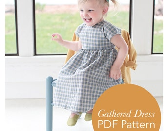 Simple Short Sleeved Gathered Dress Pattern for Toddler 18m-4T