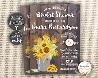 Sunflower Bridal Shower Invitation Printable - Rustic Mason Jar Invite - Country Wood Fall Autumn Invitation - 5x7 Inches Digital Invitation