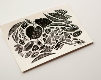 JANUARY LINOCUT PRINT, Handmade and hand pulled linocut print, Limited edition printed art, Nature inspired art print, Blacka and white art