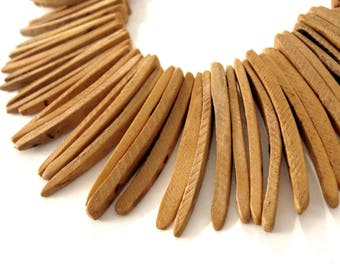 Peach Orange Burnt Wood Stick Beads - coconut indian stick 1 1/2 inch - 25pcs