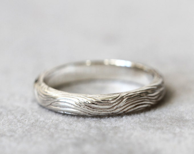 Men's ring - men's wedding band silver - flow wedding band -  925 silver textured - for him - wedding