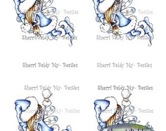 INSTANT DOWNLOAD Digital Digi Stamps Big Eye Big Head Dolls New Bestie card topper sept colored printable 6 Sheet My Besties By Sherri Baldy