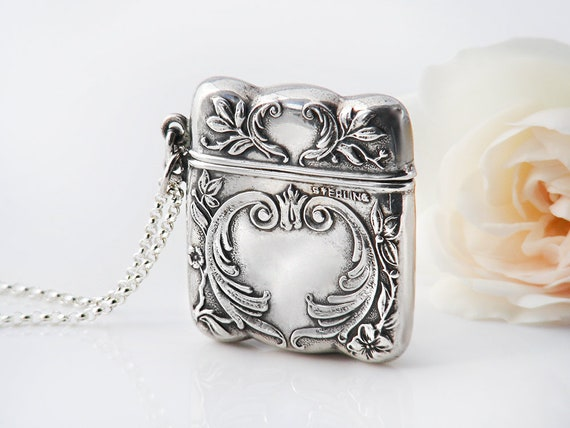 Antique Stamp Case or Sterling Silver Locket | Edwardian Era Hinged Chatelaine Case | Belle Époque Scroll Design - 20 Inch Sterling Chain