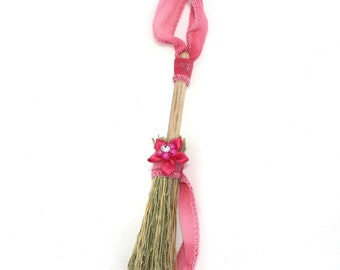 Mini Broom Ornament #8 with a Pink Flower