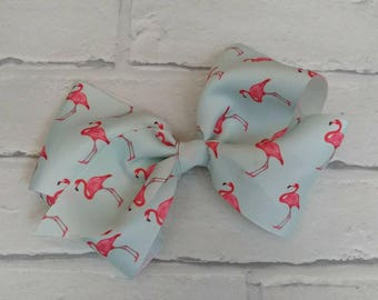 "Large 6"" Pale Blue/Pink Flamingo Boutique Hair Bow with alligator clip like JoJo Bows Dance Moms JoJo Siwa"