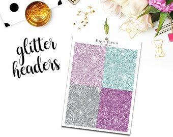 PLANNER GIRL Glitter Headers/ Planner Stickers for use with Erin Condren Planner/Happy Planner Stickers/Header Sticker Kit/Weekly Kit