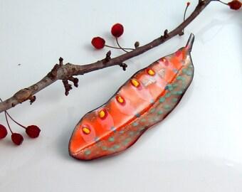 Orange Leaf Lapel Pin, Copper Enamel Art Pin, Hand Cut and Enameled Brooch, Leaf Jewelry, Bright Colors, WillOaks Studio Flora Series