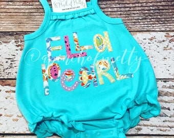 Bubble Name Romper / Name Romper / Summer Romper / Beach Romper  / Name Applique / Vacation Clothing
