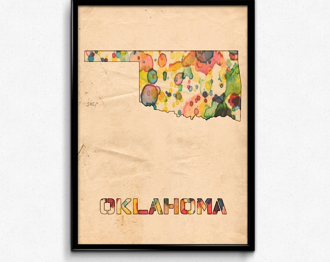 Oklahoma Map Poster Watercolor Print - Fine Art Digital Painting, Multiple Sizes - 12x18 to 24x36 - Vintage Paper Colors Style
