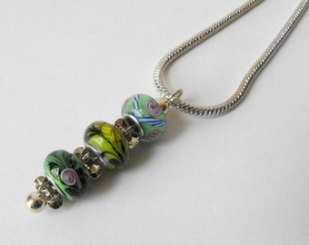 Lampwork Bead Necklace - Colorful Glass Bead Pendant Necklace by ElleBelle Art