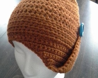 Vintage style Side Button  Slouch Hat