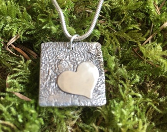 Reticulated sterling heart pendant