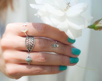 Leaf Ring Sterling Silver 925 ~ Ring ~ Jewelry ~ Thin Band ~ Basic ~ Casual ~ Everyday ~ Bohemian ~ Hippie ~  Boho ~ Maresia ~MR106