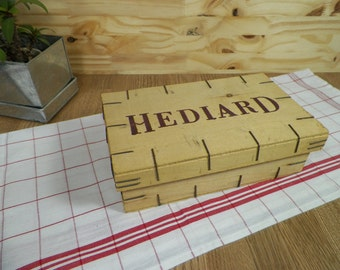 Small Hediard stapled poplar crate   the famous Parisian luxury grocery HEDIARD| Home decor France vintage 1980