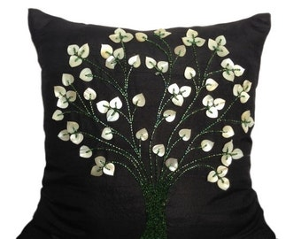 Tree Pattern Pillow Cover Beaded Tree of Life Black Accent Pillow Tree Throw Pillow Beaded Tree 14x14 16x16 18x18 20x20