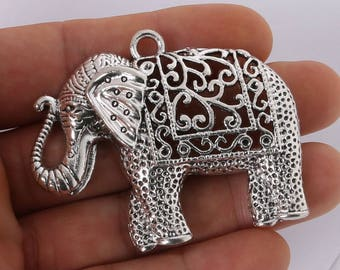 Set of 1 - Majestic Elephant Antique Silver Tone Charms for DIY Jewelry.