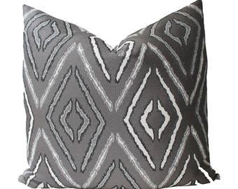 Decorative Designer Geometric Grey Pillow Cover, 18x18, 20x20, 22x22 or Lumbar Throw Pillow