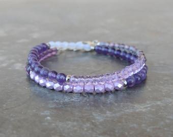 Amethyst Bracelet - Wrap Bracelet for Women - Boho Bracelet - Gemstone Bracelet - Stone Bracelet - February Birthstone Bracelet