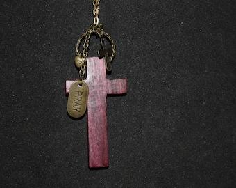 Purple Heart Cross Necklace
