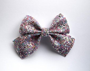 PHOEBE SAILOR Silver MULTI Glitter Bow Adorable Photo Prop Clip for Baby Girl Child Adult Pastel Love Easter Pink Blue White Alligator Clip