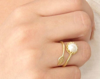 June Birthday. Pearl Ring. Twig Ring. Branch Ring. Leaf Ring. Nature Inspired. White Pearl. Swarovski Pearl. Gold Leaf. Jewelry under 25