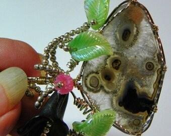 Rare Glendo Agate cabochon Pendant  in Sterling Wire