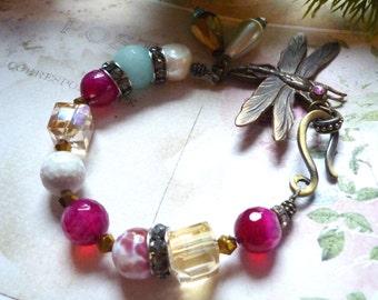 Dragonfly bracelet, brass dragonfly bracelet,pearl   bracelet amazonite bracelet, agates bracelet, hook clasp bracelet, freshwaterpearl