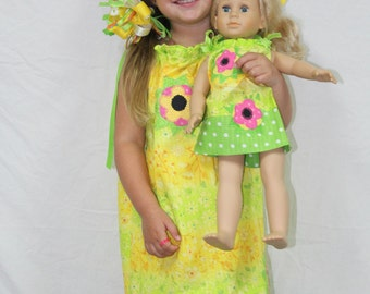 Girl clothes, dress, pillowcase dress, doll dress, doll clothes, American Girl, 18 inch doll clothes, 18 inch doll, matching dresses
