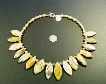 """Beaded Crazy Lace Agate Necklace 17"""""""