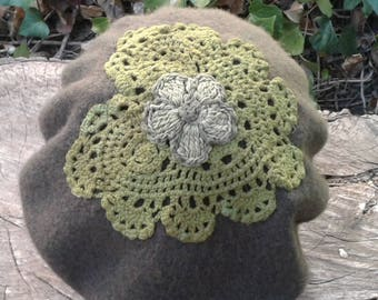 Olive Green Beret with Handmade Heart Accent