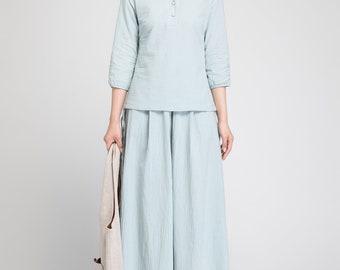linen blouse, peasant blouse, mint green shirt, buttoned shirt, women blouse, linen tunic, casual blouse, handmade top, summer shirt 1881