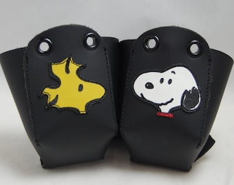 Leather Toe Guards with Snoopy and Woodstock