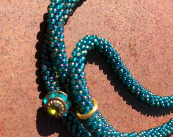 Teal seed bead kumihimo necklace