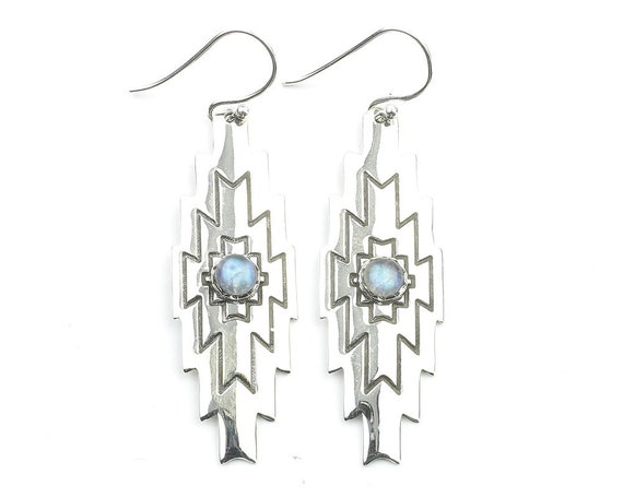 Desert Moon Earrings, Sterling Silver Moonstone Earrings, Southwestern Earrings, Crystal, Stone, Gemstone, Rainbow Moonstone