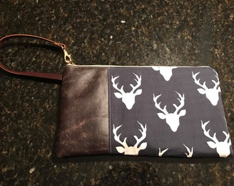 Genuine Leather and Cotton Wristlet/Clutch - stylish and practical