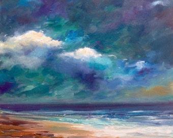 Original oil on panel by Dam Domido oil painting Marine  landscape original oil painting