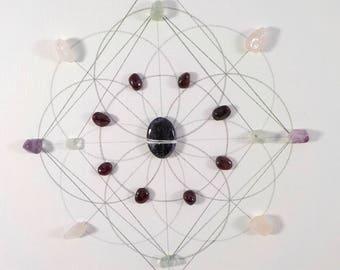 Crystal Grid - RELAXATION - Sacred Geometry Healing Grid- Charoite, Rose Quartz, Fluorite