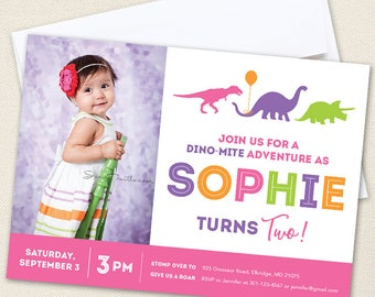 Pink Dinosaur Party Photo Invitations - Professionally printed *or* DIY printable